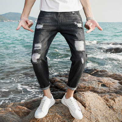 T826时尚潮牌 牛仔九分裤  多套图片风格