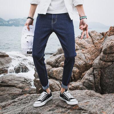 时尚靓仔牛仔九分裤9810 黑色 深蓝