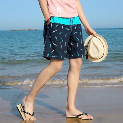 沙滩裤男士宽松速干平角潮款泳裤五分大码情侣海边度假短裤
