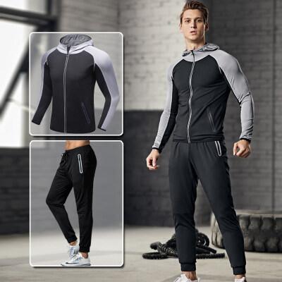 健身服男套装运动速干紧身衣训练服跑步篮球装备晨跑春秋季健身房