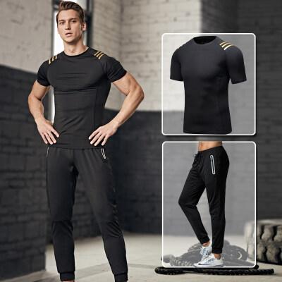 紧身裤男健身服跑步运动套装压缩裤篮球打底裤短袖弹训练速干衣