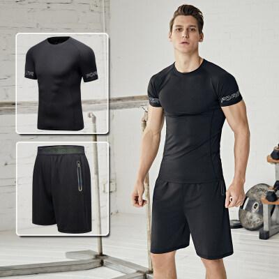 健身房运动套装男速干跑步服足球训练装备春夏短袖短裤运动衣夏季