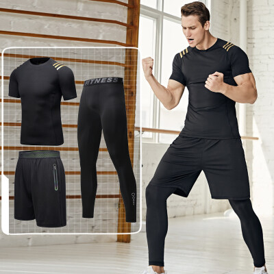 运动紧身衣套装夜跑服男速干篮球跑步健身房晨跑装备训练服春夏