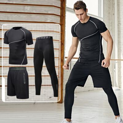 健身套装男春夏运动紧身衣短袖篮球训练服紧身裤跑步速干衣健身房