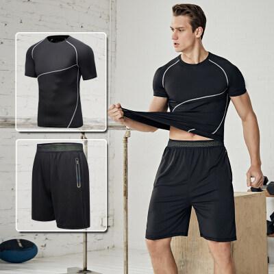 健身服男短袖短裤速干健身房春夏运动套装篮球装备跑步训练服晨跑