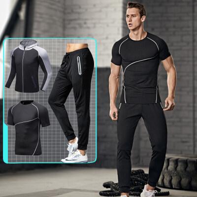 新款跑步套装男健身服运动三件套健身房晨跑速干训练紧身衣春秋季