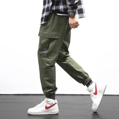 裤子男韩版潮流百搭休闲宽松多口袋潮工装裤运动修身小脚裤