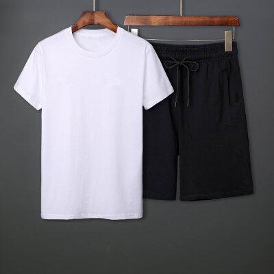夏季休闲短袖套装纯棉圆领短袖纯棉五分裤男公版白T恤