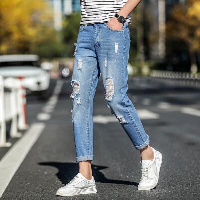 男士牛仔裤青年修身牛仔裤九分裤潮男牛仔裤