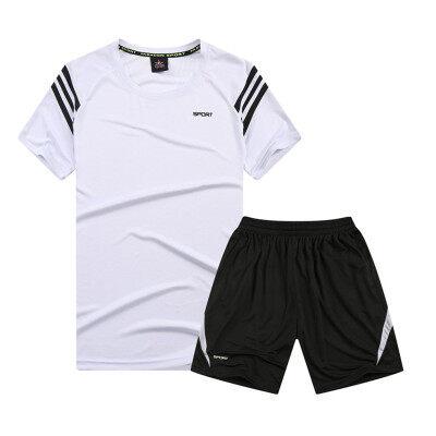 运动套装男士夏季薄款晨跑休闲服装跑步衣服短袖短裤速干透气