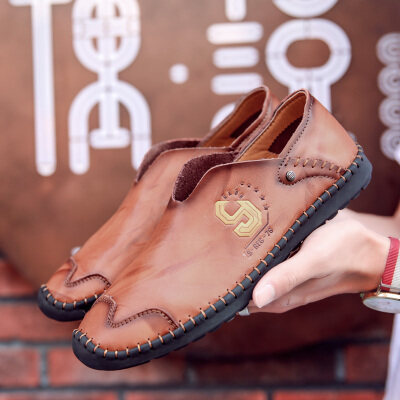 春季男鞋2019新款男士休闲小皮鞋真皮韩版一脚蹬懒人豆豆鞋男
