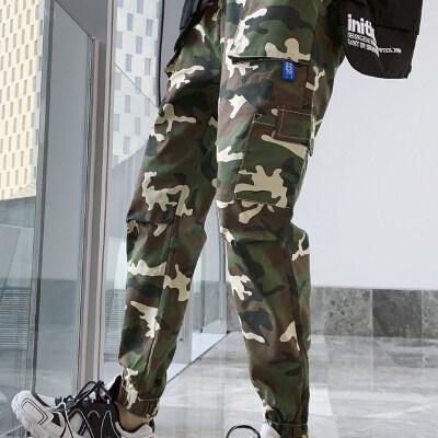 男士新款户外迷彩工装裤街头嘻哈军事风多口袋小脚收口束脚裤