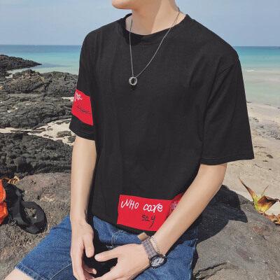济州岛  T18801-P35 95%棉5%氨纶 新款大码T恤男