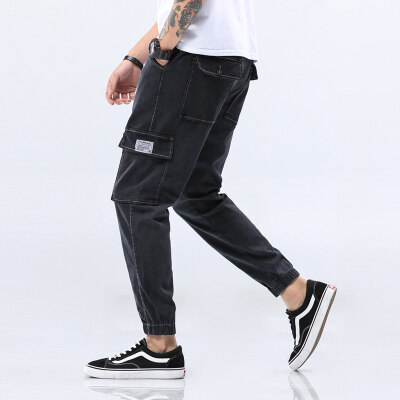 M-5XL】工装牛仔裤男多口袋牛仔裤大码军工裤四季款长裤