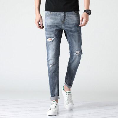 2019高品质男士牛仔裤28-36码磨破水洗白春夏款910