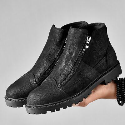 侧拉链马丁靴靴子男英伦风中帮短靴保暖棉鞋高帮皮鞋加绒真皮男鞋