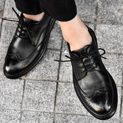 春季大码布洛克男鞋韩版英伦潮鞋休闲商务正装皮鞋男士黑色婚礼鞋