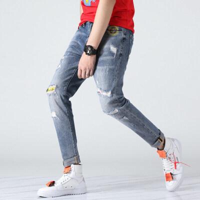 春夏潮男牛仔裤复古色九分裤98棉直筒流行裤906