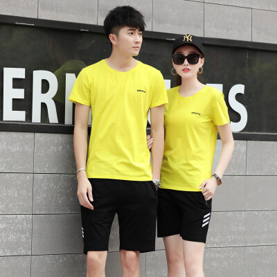 运动套装男夏季新款短袖短裤跑步休闲运动服套装男女情侣装