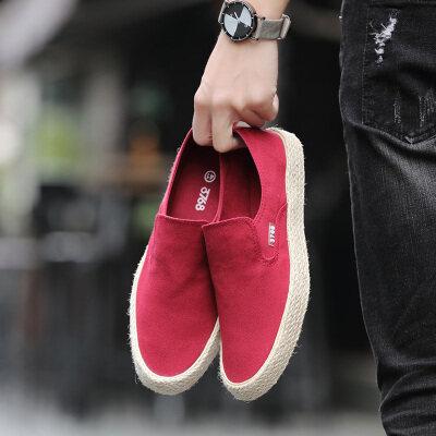 帆布鞋男春季低帮男士透气一脚蹬男鞋轻便懒人鞋休闲老北京布鞋男