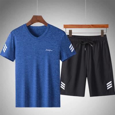 短袖t恤男套装夏季中老年男士装速干运动休闲岁冰丝短袖短裤套装