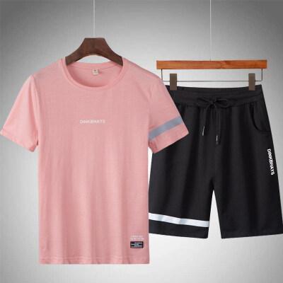夏季新款韩版t恤短袖男两件套男士运动服男式休闲运动套装男潮