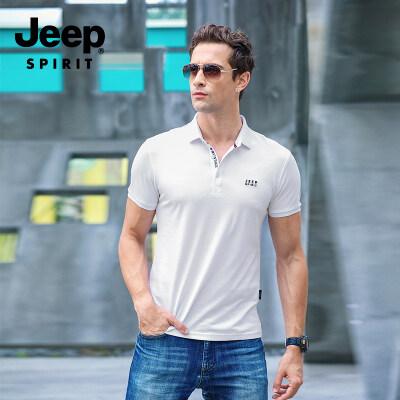 JEEP吉普2019新款短袖T恤衫纯色翻领POLO衫3955