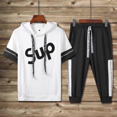 男士休闲运动套装sup潮牌青少年学生短袖五分裤小猪佩奇