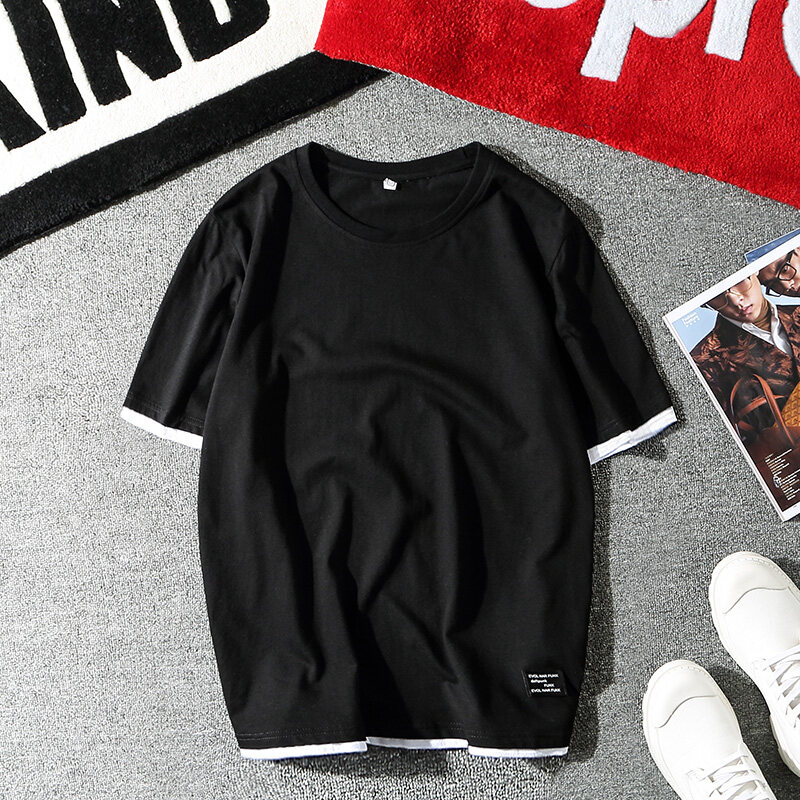 2019春秋季新款长袖t恤男士圆领个性衣服体恤衫男生卫衣