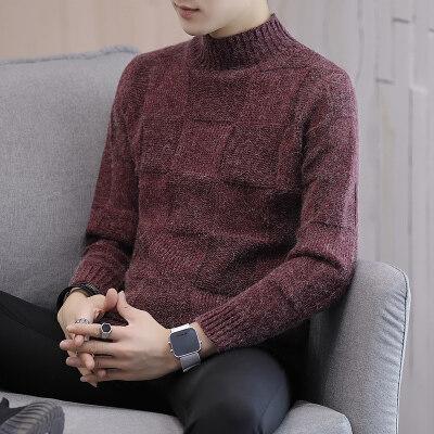 男士半高领毛衣秋冬季新款加厚宽松毛衣男韩版潮流个性针织衫912