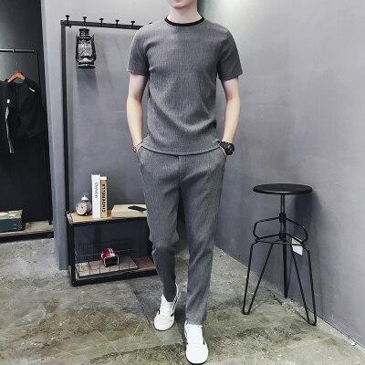 男士夏季短袖长裤冰丝t恤休闲运动亚麻套装男中年爸爸40-50