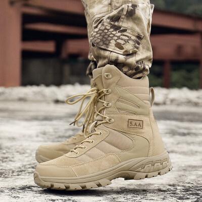 特种兵军靴男战术靴高帮作战靴真皮透气防刺穿春夏登山靴沙漠靴