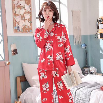 韩版仿真丝绸春秋季睡衣女士长袖两件套装性感红色冰丝薄款家居服