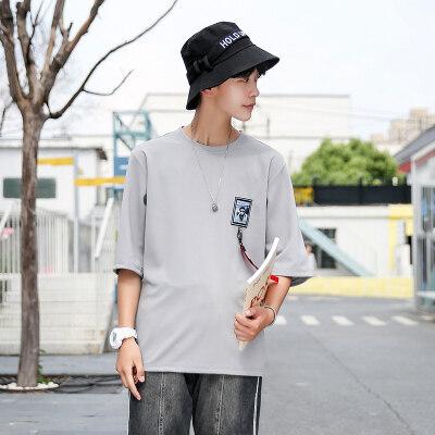 韩版修身短袖T恤潮男夏季汗衫圆领套头衫七分袖短T8110