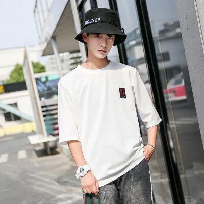 韩版短袖T恤潮男夏季汗衫圆领套头衫七分袖短T恤8117
