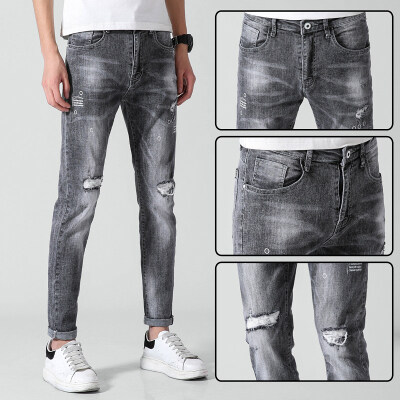 19新款春夏季男士牛仔裤韩版时尚印花小直脚修身弹力小破洞牛仔