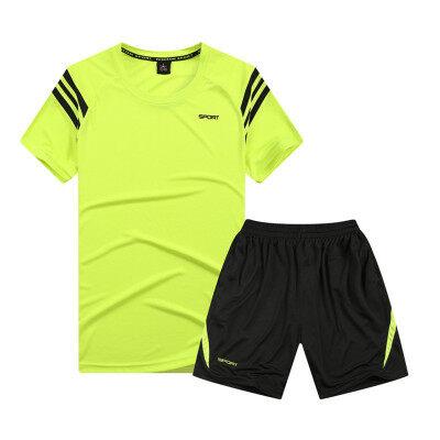夏季大码宽松运动休闲套装男健身服运动服跑步服