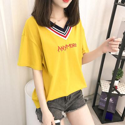 嘉健女装纯棉新款V领刺绣字母短袖T恤