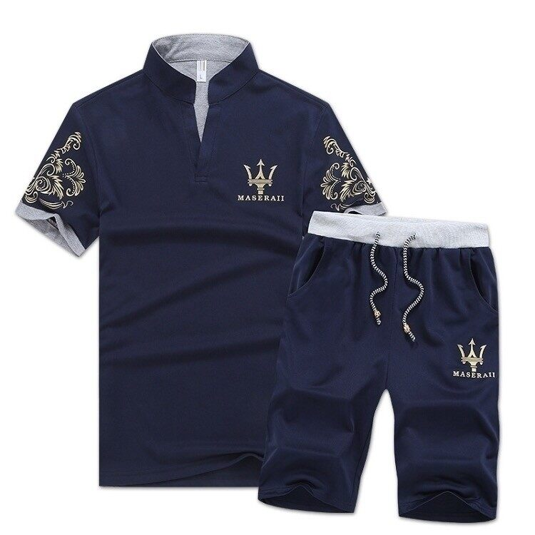 夏季新款男士玛莎拉蒂V领休闲运动套装清凉百搭两件套装
