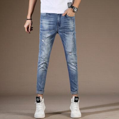 男士牛仔裤休闲九分裤破洞蓝色小脚裤铅笔