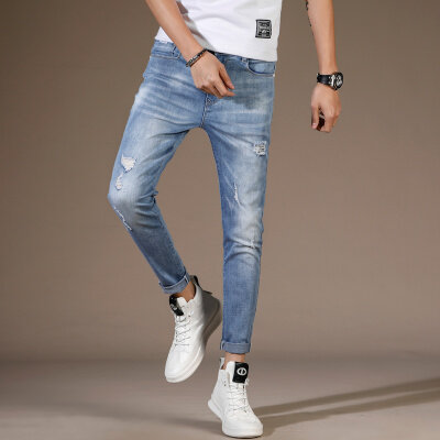 新款男士九分牛仔裤小脚破洞九分牛仔裤