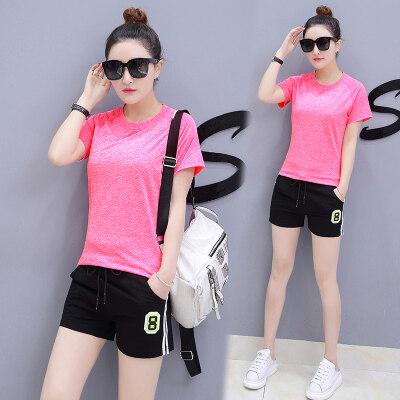 女装2019夏季新款短袖套装女休闲运动服跑步女士运动套装