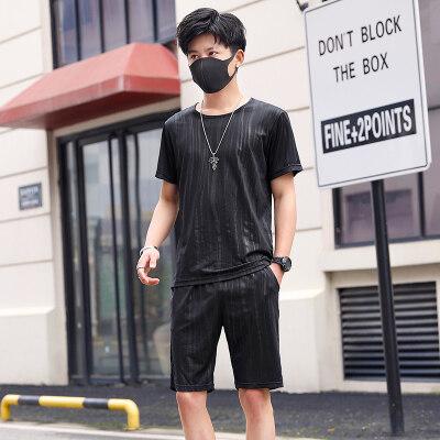 时尚潮男薄款运动套装短袖T恤两件套