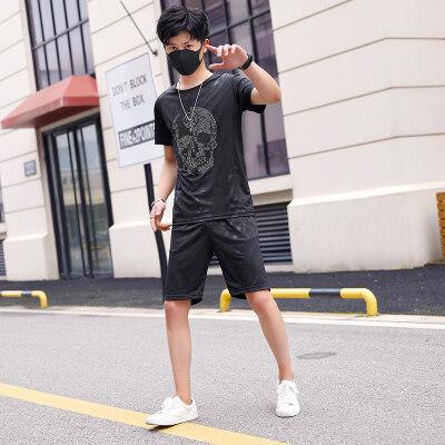 3D立体贴花潮男薄款短袖套装夏季休闲两件套骷髅头贴花短袖套装