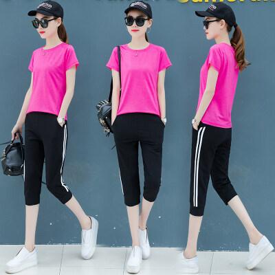 休闲运动女套装大码透气两件套女短袖七分裤