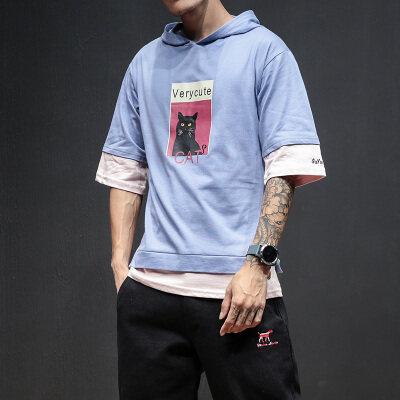 马切达-阿四  T18834-P35 95%棉5%聚酯纤维  新款大码T恤 男