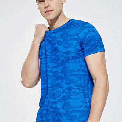 运动健身速干衣男短袖t恤圆领透气夏季迷彩跑步紧身快干服饰上衣