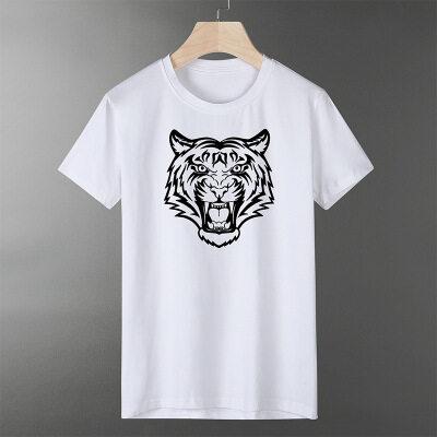 印花短袖t恤男莫代尔棉上衣服夏季男士纯白色打底衫冰感半袖