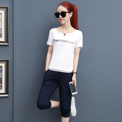 大码运动套装女夏2019新款韩版纯棉显瘦短袖七分裤时尚休闲