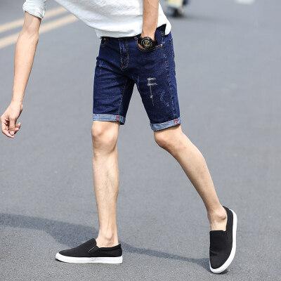 新款男士春夏款卷边中裤潮流男士夏季修正直筒短牛仔裤